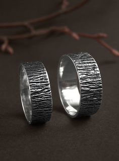 Silver tree bark ring, rustic wedding band, forest wedding ring, natural…