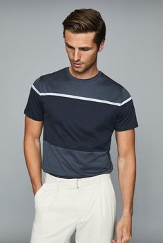 A classic wardrobe staple crafted from pure soft cotton, the Block T-shirt features a tonal stripe pattern in a range of blue hues. Style it with chinos and sneakers for an effortless off-duty look. Business Casual Men, Men Casual, Air Force Blue, Tennis Clothes, Best Mens Fashion, Suit And Tie, Mens Clothing Styles, Menswear, T Shirt