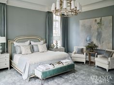 """Upholstered walls in linen by Rogers & Goffigon gives the master bedroom a feeling of warmth and quietness enhanced by the wool-and-silk rug, draperies and plush bedding. """"It's dressed up, but it has a casual elegance,"""" Kasler says. Master Bedroom Design, Home Decor Bedroom, Bedroom Designs, Minimalist Bedroom, Modern Bedroom, Upholstered Walls, Luxurious Bedrooms, My New Room, Beautiful Bedrooms"""