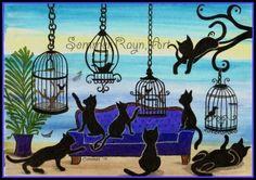 Mischevious Kitties with Birds Linen Blend by SommerRaynJones