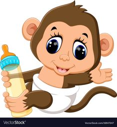Vector Cute Monkey Cartoon Rf Com - Illustration Of Cute Monkey Cartoon Vector Art Clipart And Stock Vectors Image Photos Vectors Footage Audio Fonts See Pricing Plans Support En Search Rf With An Image Inst Clipart Baby, Cute Clipart, Cartoon Monkey, Cartoon Art, Cute Cartoon, Animal Cutouts, Monkey Pictures, Baby Shower Labels, Disney Babys