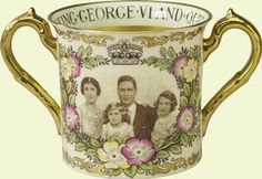 Commemorative two-handled King George VI Coronation mug    1937    Paragon China Co., Ltd    Probably acquired by Queen Mary