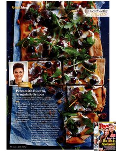 Flatbread Pizza with arugula, Ricotta & grapes. A Letter From Me | Tiffani Thiessen found in People Magazine