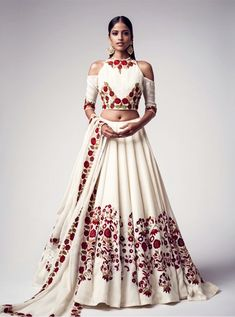 Buy White Floral Embroidered Banglori Silk Semi Stitched Lehenga Choli online in India at best price.Product ID 1075363 Type Lehenga choli Returns 7 day Refund Policy Shipping Available Worldwide Package Indian Fashion Trends, India Fashion, Indian Fashion Modern, Indian Inspired Fashion, Lehenga Designs, Indian Attire, Indian Wear, Moda India, Indie Mode