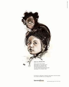 Print advertisement created by Saatchi & Saatchi, South Africa for Operation Smile, within the category: Public Interest, NGO. Guerrilla Advertising, Guerilla Marketing, Print Ads, Poster Prints, Posters, Saatchi & Saatchi, Drawing Sketches, Drawings, Child Smile