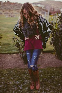 Color of the Season - Part 1: Featuring a Chicnova Cardigan, Caring Cowl, and ShopHopes boots - Twenties Girl Style