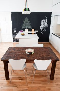 kitchen and dining area - minimalist kitchen furniture, massive wooden table…