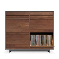 I need this. Desperately. Symbol Audio - LPC 402 Record Storage Cabinet at @2Modern holds 640 LPs and 320 CDs or DVDs. And it's gorgeous. Need.