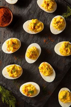 These Deviled Eggs are perfectly seasoned and extra creamy! #eggs #madewitheb #appetizer #snack #deviledeggs