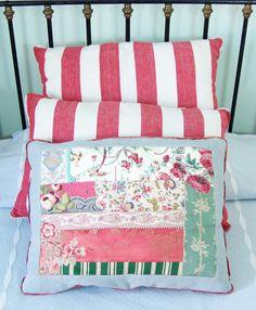 red fabric / handmade pillow cases http://solamentegiovedi.com/