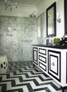 Greg Natale - bathrooms - black and white bathroom, black and white marble bathroom, chevron floor tile, black and white marble floor, chevr. Black And White Interior, Black And White Marble, Bad Inspiration, Bathroom Inspiration, Bathroom Ideas, Bathroom Designs, Cabinet Inspiration, Cabinet Ideas, Cabinet Design