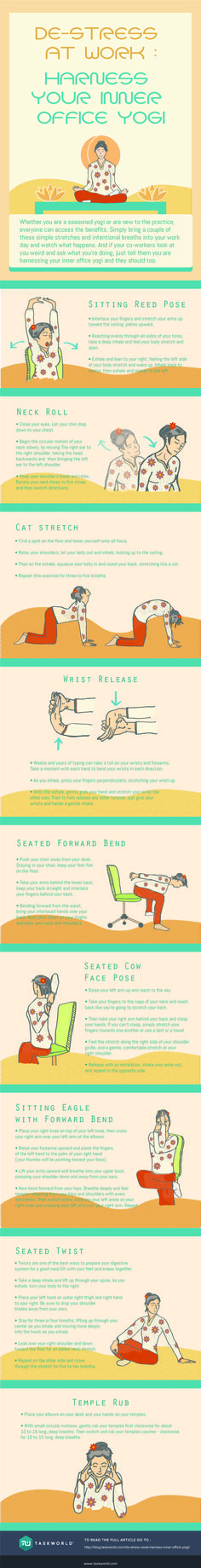 9 Yoga Positions To Destress at Work #Infographic