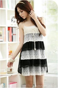 Ladylike Multilayer Spaghetti Straps Lace Dress