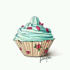 35 Super Ideas For Cupcakes Desenho Illustration Cupcake Illustration, Digital Illustration, Illustration Sketches, Cupcake Kunst, Cupcake Torte, Cupcake Drawing, Cupcake Painting, Blue Cupcakes, Art Cupcakes