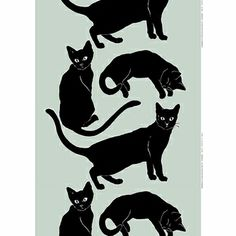 """The """"purrfect"""" pattern for feline fanatics. These cats are cute, but leave a hauntingly beautiful silhouette against the bluish grey background. Marimekko Siniverinen Grey/Black Fabric Repeat - $69"""