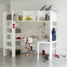 idées design pour un lit en hauteur espace rangement