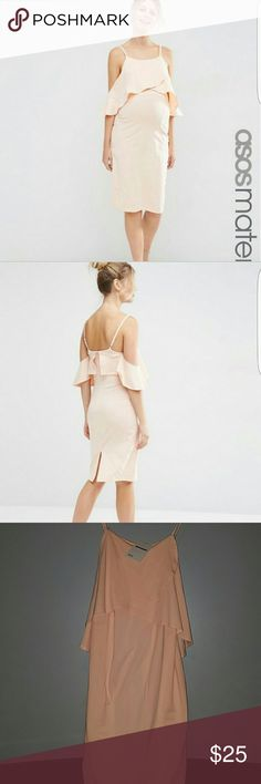 "Elegant midi maternity dress!! Never worn! Off the shoulder sleeves, a pretty pale pink color!! (Considered ""Nude"" color) Loose fitting, stretch cotton material. ASOS Maternity Dresses"