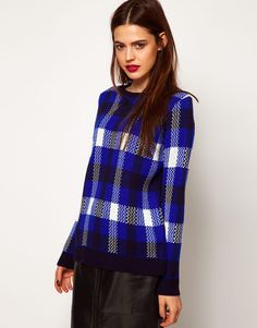 ASOS Sweater In Blue Check