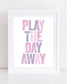 Play the Day Away Print, Playroom Digital Print, Nursery Print, Playroom Wall Art, Kids Room Print, Pink and Purple Print, Digital Print by DuneStudio on Etsy