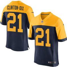 Men s NFL Green Bay Packers  21 Clinton-Dix Navy Elite Jersey Nike Green 1ef2a6278