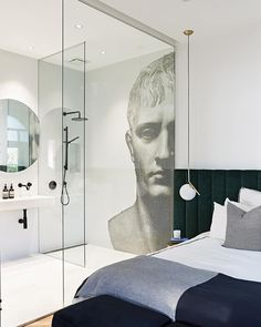 Mosaic tiles Australia: Feature walls star in reno - The Interiors Addict Dulux Blue, Old Mansions, Bedroom Wardrobe, Star Wall, Guest Suite, Open Shelving, Mosaic Tiles, Bathrooms, Bathroom Vanities