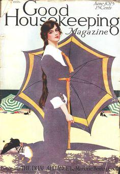 Coles Phillips : Cover art for Good Housekeeping, June 1915 -- Fadeaway girl Gravure Illustration, Illustration Art Nouveau, Magazine Illustration, Mode Vintage, Vintage Ads, Vintage Images, Vintage Posters, Vintage Pictures, Umbrella Art
