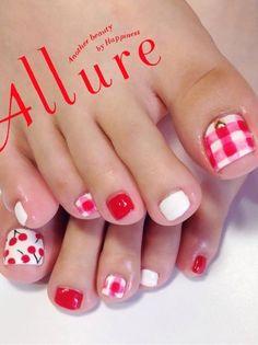cherry and plaid summer toenails bmodish