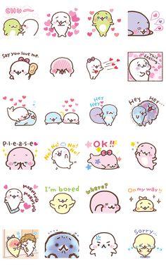 Mamegoma: Seal-y Stickers – LINE stickers Emoji Stickers, Tumblr Stickers, Kawaii Stickers, Cute Stickers, Cute Food Drawings, Kawaii Drawings, Logo Tv, Kawaii Faces, Kawaii Doodles