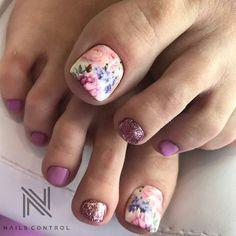 @pelikh_Маникюр - дизайн ногтей Nail Designs Toenails, Feet Nail Design, Pedicure Designs, Toe Nail Designs, Nail Polish Designs, Pretty Toe Nails, Cute Toe Nails, Toe Nail Art, Gorgeous Nails