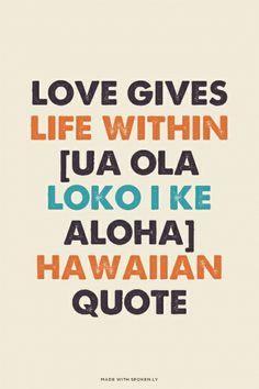 ... loko i ke aloha] Hawaiian Quote   Anneke made this with Spoken.ly More