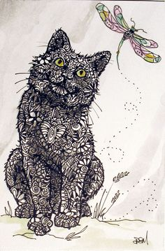 WISH I COULD FLY, tangle style kitty watching this sweet dragonfly done by Diana Martin in ink and acrylic