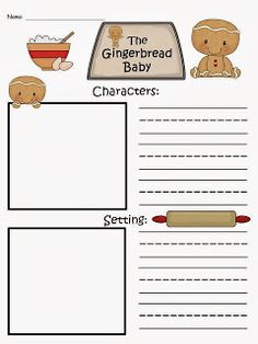 FREE:  The Gingerbread Baby Story Map.Elements Of A Story...characters, setting, problem solution... based off of the story by Jan Brett.   Freebie For A Teacher From A Teacher :) fairytalesandfictionby2.blogspot.com