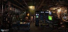 Hacker den, shady side of town