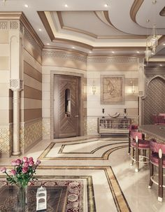 سحر الشرق / Magic Of Orient on Behance morrocan kitchen Mansion Interior, Luxury Homes Interior, Luxury Home Decor, Home Design, Home Interior Design, Exterior Design, Islamic Architecture, Interior Architecture, Islamic Decor