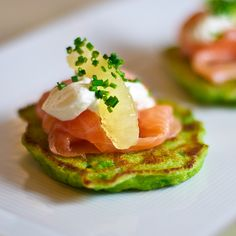 Pea Pancakes with Smoked Salmon and Creme Fraiche. The flavor combination here is simply elegant and light. Not your average latke.