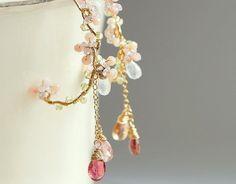 桜-ピンクのお花のフープピアス 14kgf
