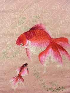 Boggles the mind that some gifted hands did this embroidery of two Koi fish on a Summer Obi (detail)