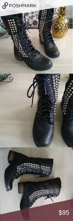 STEVE MADDEN Spiked Leather Combat Boots 5.5 Excellent distressed boots! Hard to find and super trendy and chic!!! All spikes in tact with minor wear! Steve Madden Shoes Combat & Moto Boots