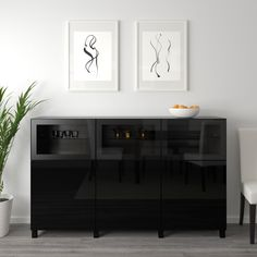 IKEA - BESTÅ, Storage combination with doors, black-brown Selsviken, Glassvik high gloss/black smoked glass, You can choose to use either the soft-closing or push-open function. Glass doors keep your finest items free from dust but still visible. Black Buffet, Ikea Interior, Ikea Family, Ikea Tv, Living Room Accents, Besta, Knobs And Handles, Glass Shelves, Ikea Furniture