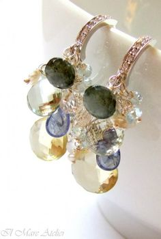 Aquamarine Green Amethyst Lemon Quartz Pearl Crystal earrings - like combination