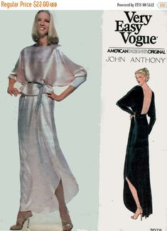 ON SALE 1970s Womens Backless Evening Dress Vogue 2075 American Designer John Anthony American Hustle Vintage 70s Sewing Pattern Size 14 by sandritocat on Etsy