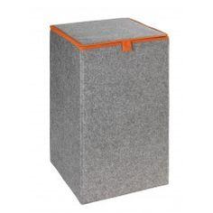 WENKO Wäschesammler Uno Filz Orange, Wäschekorb, 55 l