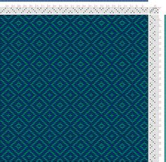 Hand Weaving Draft: teal double diamond twill, Something I drafted using Pixeloom., 4S, 6T - Handweaving.net Hand Weaving and Draft Archive Girasol's diamond weave
