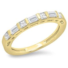 060 Carat ctw 14K Yellow Gold Princess  Baguette Diamond Ladies Wedding Stackable Band Size 7 ** You can find more details by visiting the image link.(This is an Amazon affiliate link)