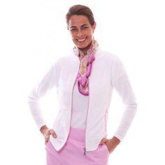 Birdee Sport of Australia Women's Jacquard Knit Golf Travel Jacket-Silver  #birdeesport #golfpolos #shortsleevegolfpolos #patterns #ladiesgolfapparel #ladiesgolfshirts #golftops #shortsleevepolos