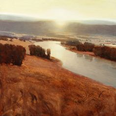 """""""Sunrise Over the River"""" by Andrzej Skorut, 38 x 38, Oil on Canvas available in Scottsdale at The Marshall   LeKAE Gallery of Fine Art"""