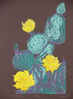 Original Art Bright green and yellow COLOR WOODCUT Print Desert Southwest Bloom Cactus Flower on Etsy, $29.00