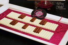 Cool KitKat piano at a rockstar birthday party!  See more party planning ideas at CatchMyParty.com