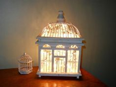 What a Bright Idea! 20 Surprising Home Decor Ideas Using Holiday Lights  Why we love it: This luminary birdhouse makes a great nightstand fixture in a shabby-chic master bedroom or cottage-style guest room. Bonus: It casts an oh-so-romantic atmosphere without the harsh brightness of a towering table lamp.