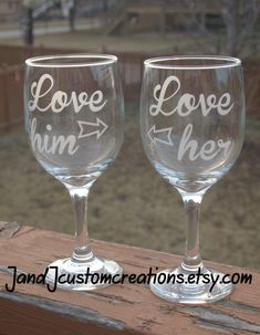 Couples wine glass set His and Hers wine glasses, Love Him Love her, couples wine glass for Valentines Day-Sandblasted/Etched